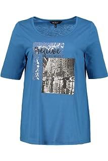 d2423e45be7 Ulla Popken Femme Grandes Tailles T-Shirt col Rond avec Sequins Devant  719357