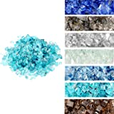 "Skyflame High Luster 10-Pound Regular Fire Glass for Fire Pit Fireplace Landscaping Garden Caribbean Blue 1/4"" Size"