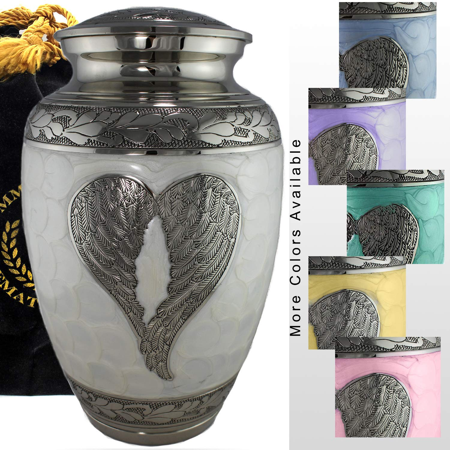 Loving Angel - White/Silver Cremation Urns for Human Ashes Adult for Funeral, Burial, Columbarium or Home, Cremation Urns for Human Ashes Adult 200 Cubic inches, Urns for Ashes (Large/Adult) by Commemorative Cremation Urns