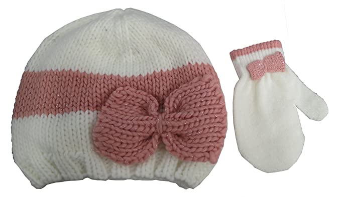 2968c7c7ad4 Amazon.com  ABG Accessories White with Bow Beanie Knit Hat and ...