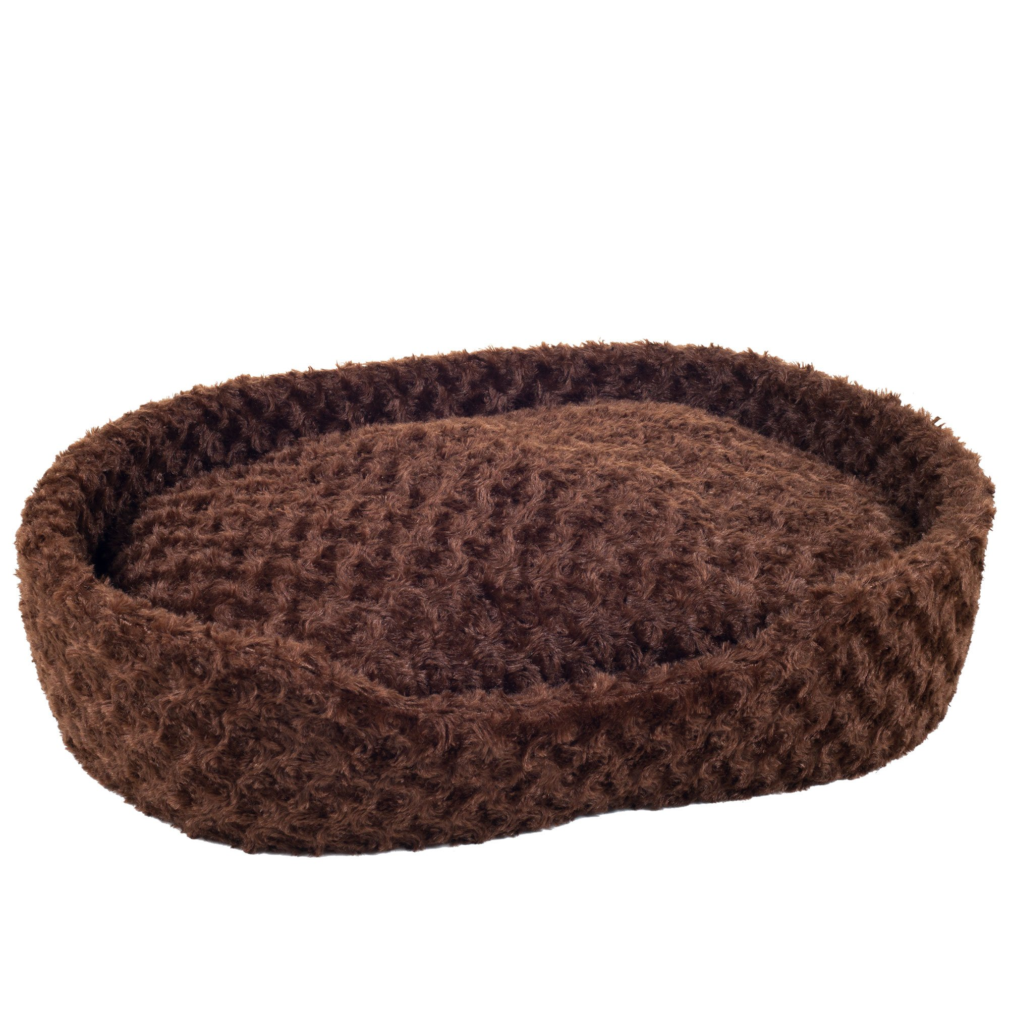 PETMAKER Small Cuddle Round Plush Pet Bed - Brown