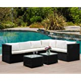 Leisure Zone 5 PCs/8 PCs Rattan Corner Sofa Set Sectional Garden Sofa Patio Sofa Weatherproof Outdoor Garden Patio Conservatory Furniture Set with Coffee Table, 2 Year Warranty (8 Pcs(Black))