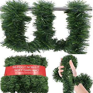50-Foot Soft Green Garland for Christmas Decorations – 16.7Y Non-Lit Soft Green Holiday Decor for Outdoor or Indoor Use - Premium Quality Home Garden Artificial Greenery or Wedding Party Decorations.