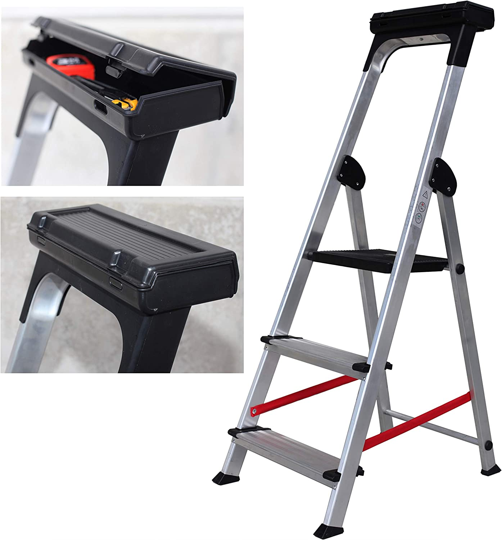 3 Peldanos Escalera Ancha de Aluminio ELITE PLUS
