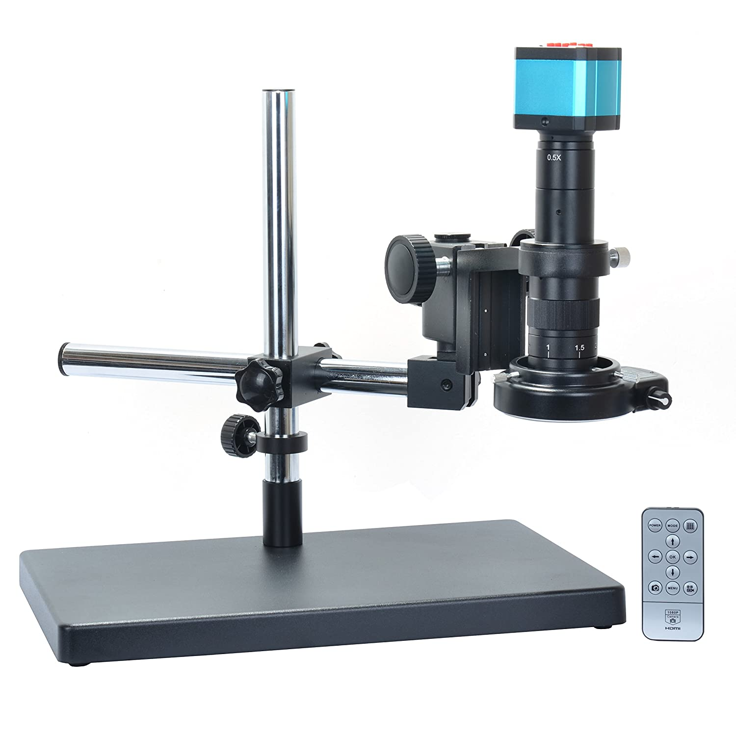 14MP HDMI Microscope Camera Kit For Industry Lab PCB USB Output TF Card Video Recorder 180X C mount Lens Big Stereo Stand 144 LED Light