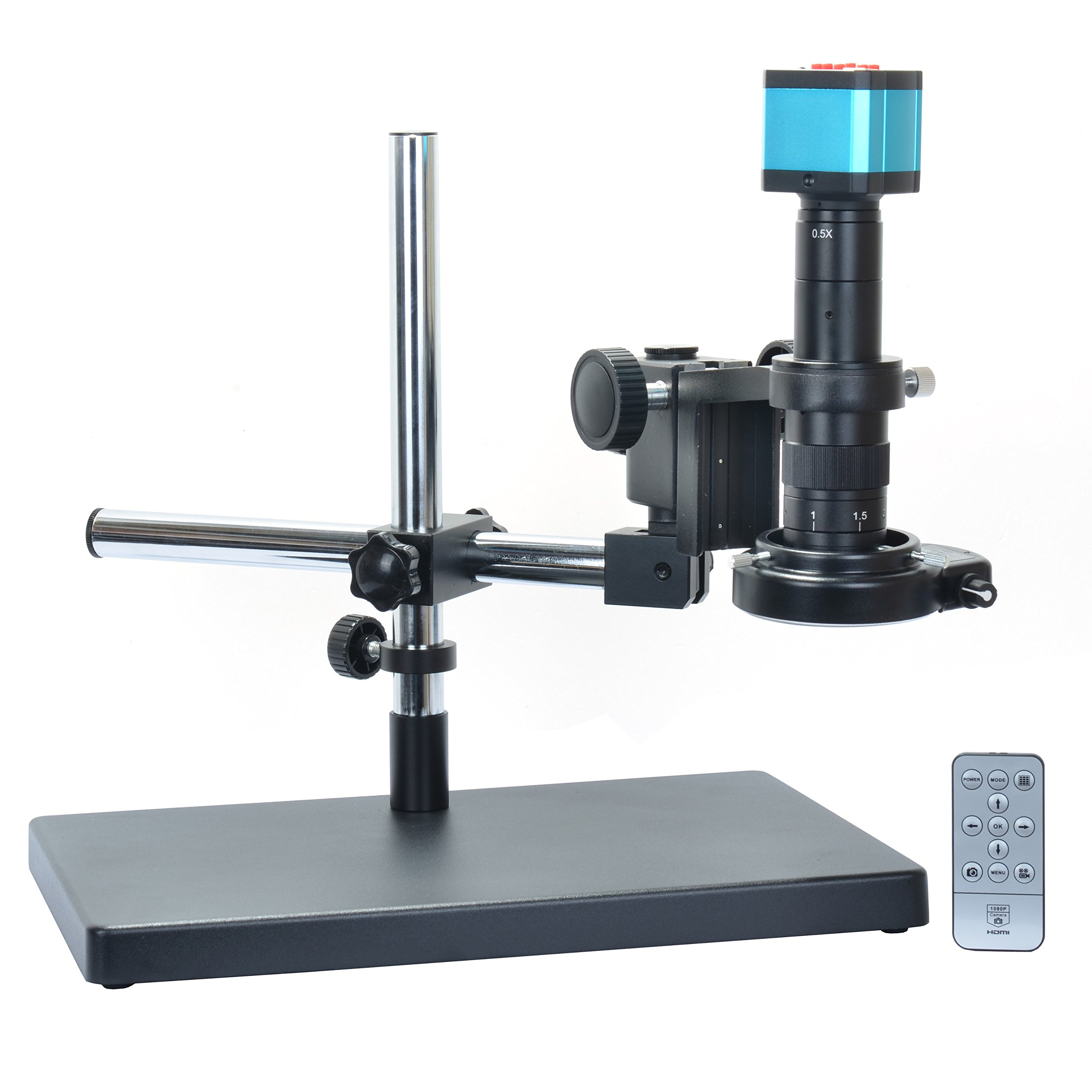 14MP HDMI Microscope Camera Kit For Industry Lab PCB USB Output TF Card Video Recorder +180X C-mount Lens + Big Stereo Stand +144 LED Light by Aihome