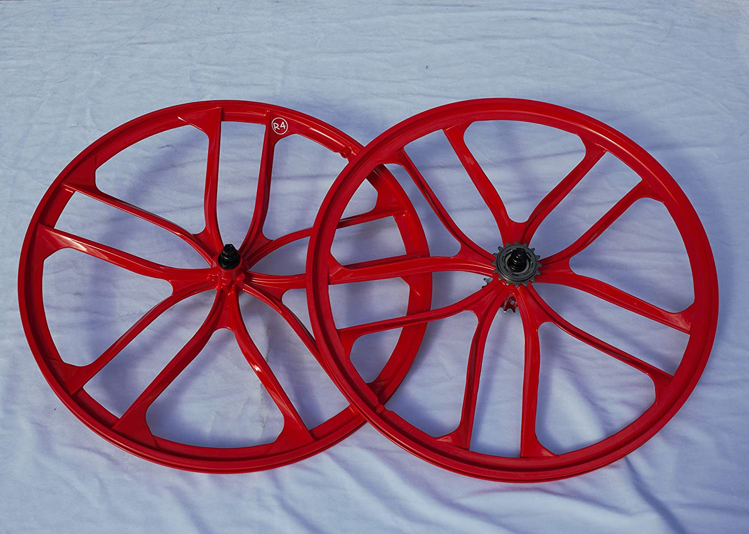 "Freewheel Set 29/"" BMX 5-Spoke Strong Magnesium Alloy Rims Wheels Red"