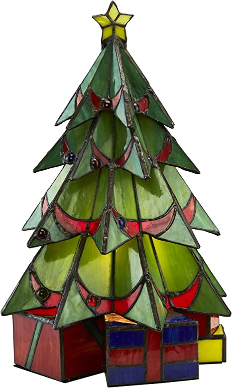 Amazon Com Design Toscano Christmas Tree Stained Glass Illuminated Sculpture Large Full Color Tf10019 Home Kitchen