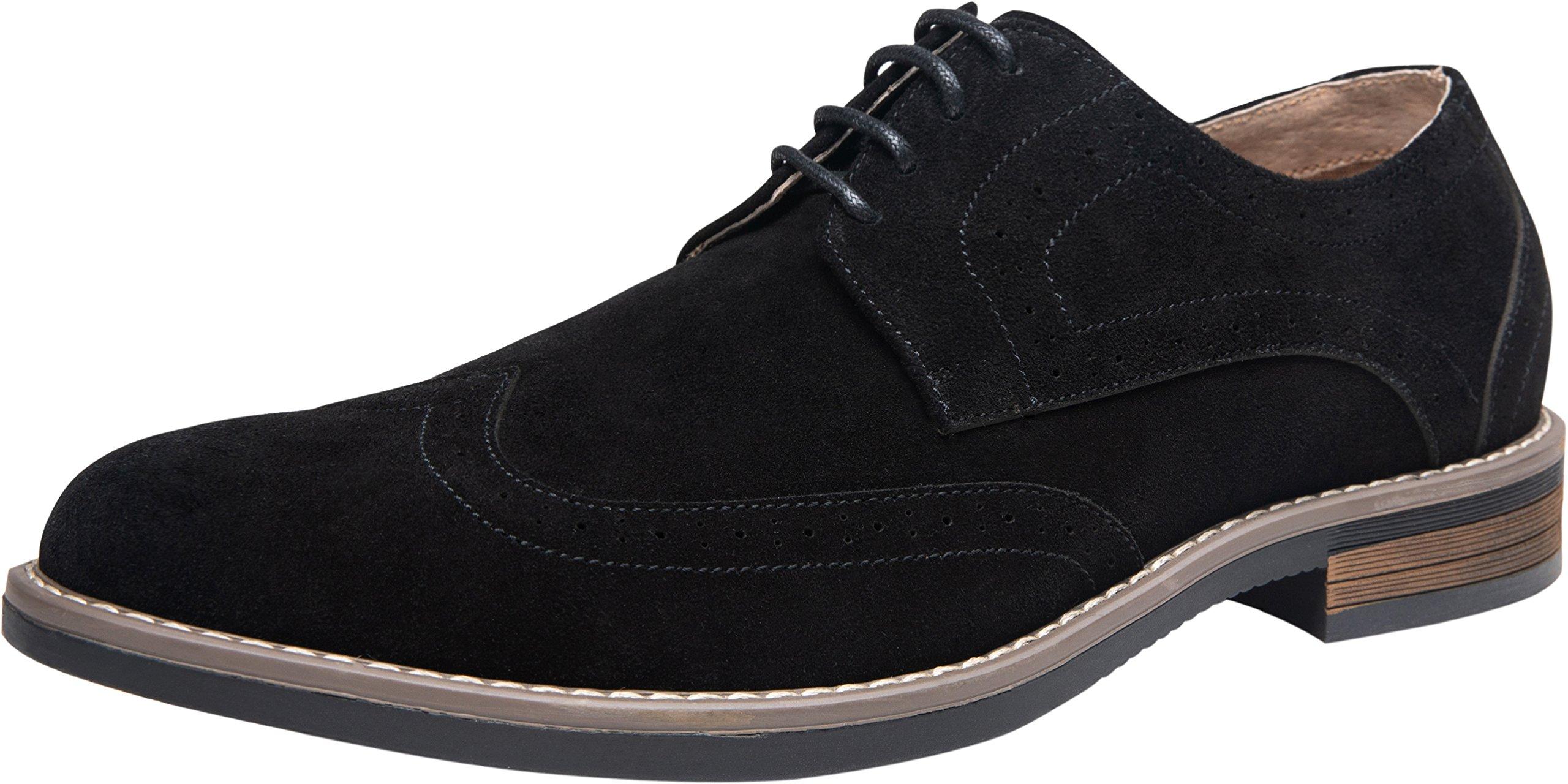 JOUSEN Men's Oxford Wingtip Brogue Suede Leather Dress Shoes (10,Black) by JOUSEN