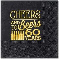 Crisky Cheers and Beers Servilletas de cumpleaños, Cheers to 60 Year, 50 Unidades