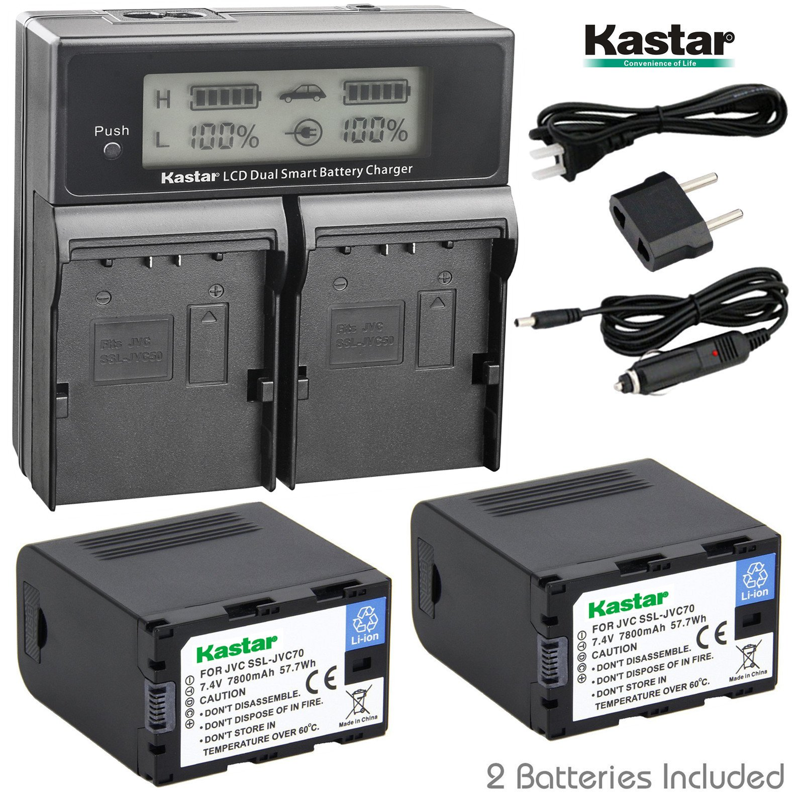 Kastar LCD Dual Fast Charger & Battery 2x for JVC SSL-JVC70 SSL-JVC75 BN-S8I50 GY-HMQ10 GY-LS300 GY-HM200 GY-HM200HW GY-HM200U GY-HM600 GY-HM600E GY-HM620U GY-HM650 GY-HM650SC GY-HM650U GY-HM660SC