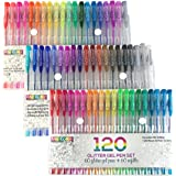My Color Store 120 Glitter Gel Pens Set, 60 Unique Color Glitter Pens + 60 Glitter Gel Ink Pen Refills, Best Gel Pens for Adult Coloring Books, Journals, Drawings, Glitter Markers for Kids