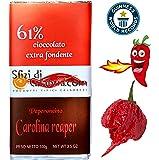 Cioccolato al Peperoncino Carolina Reaper 100gr Varietà di Più Piccante al mondo 2.200.000 Scoville Extra Fondente 61%