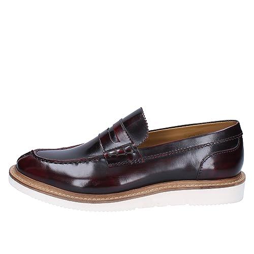 BASE LONDON Mocasines Hombre Cuero Brillante borgoña: Amazon.es: Zapatos y complementos