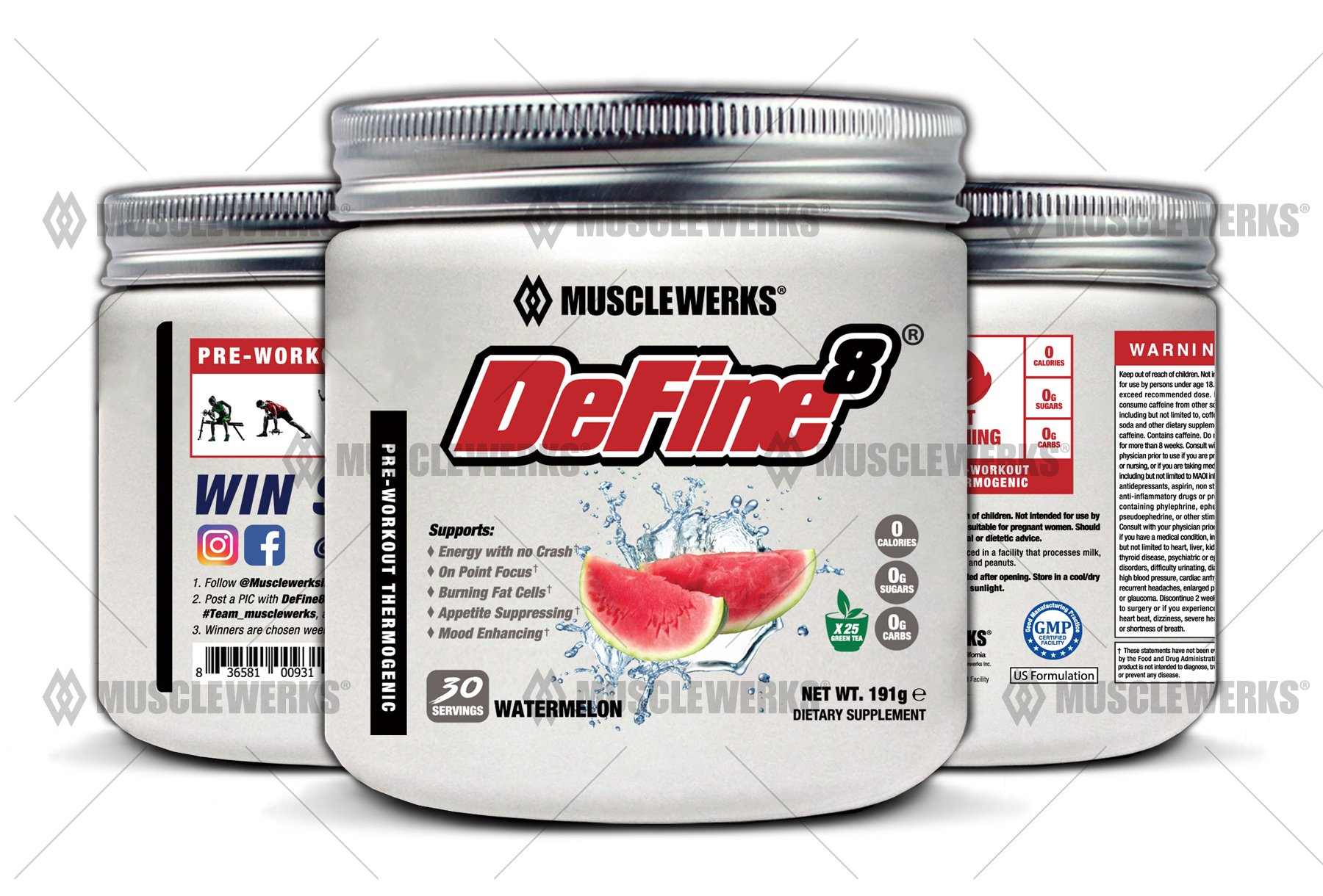 DeFine8: Watermelon - Fat Burner for Women and Men, Pre-Workout Thermogenic - NEW ADVANCED FORMULA, Appetite Suppressant, Boosts Metabolism & Curbs Sweet Cravings for Weight Loss.