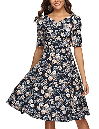 ee8f4221d94 Simple Flavor Women s Vintage Floral Midi Dress Short Sleeves Elegant  Summer Dress with Pockets at Amazon Women s Clothing store