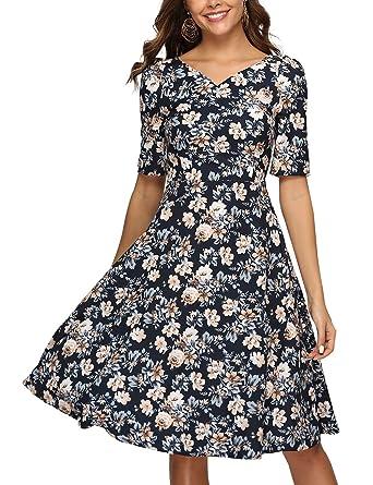 66482da3d5c9 Simple Flavor Women's Vintage Floral Midi Dress Short Sleeves Elegant Summer  Dress with Pockets at Amazon Women's Clothing store: