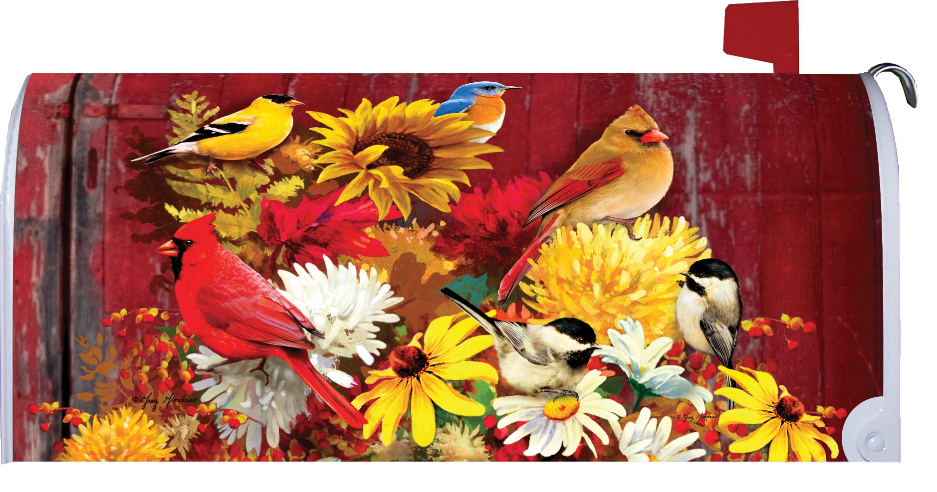 Autumn Songbirds - Mailbox Makeover - Vinyl with Magnetic Strips - Licensed, Copyrighted and Made in the USA by Custom Decor Inc.