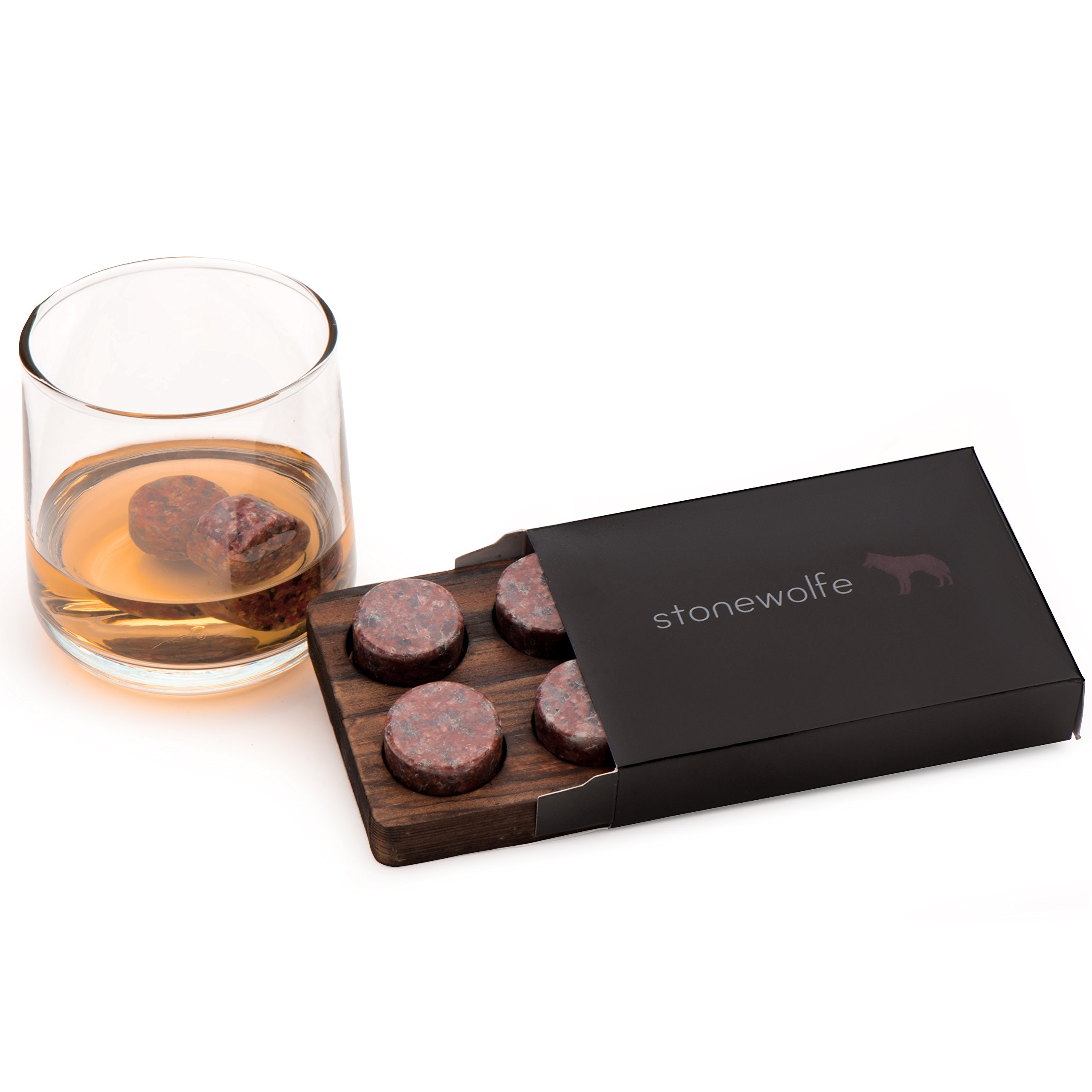 Whiskey Stones - Pure Red Granite - Set Of 6 Round Stones With Display Tray by Stonewolfe (Image #2)
