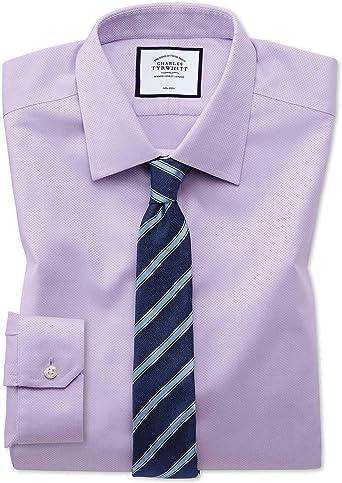 Charles Tyrwhitt Camisa sin Plancha Lila de Tejido Triangular ...