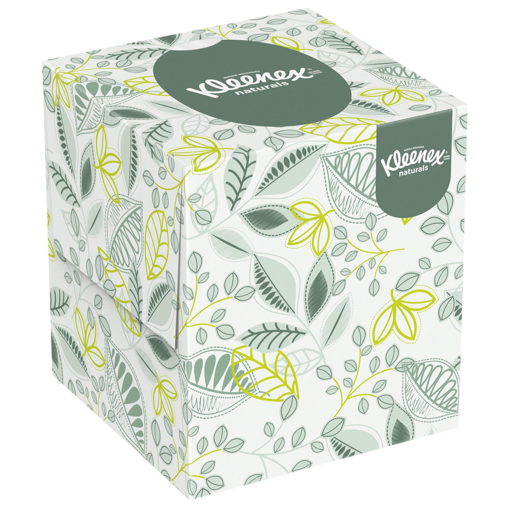 Kleenex Professional Naturals Boutique Facial Tissue Cube for Business (21272), Upright Face Tissue Box, 2-PLY, 6 Bundles/Case, 6 Boxes/Bundle, 36 Boxes/Case