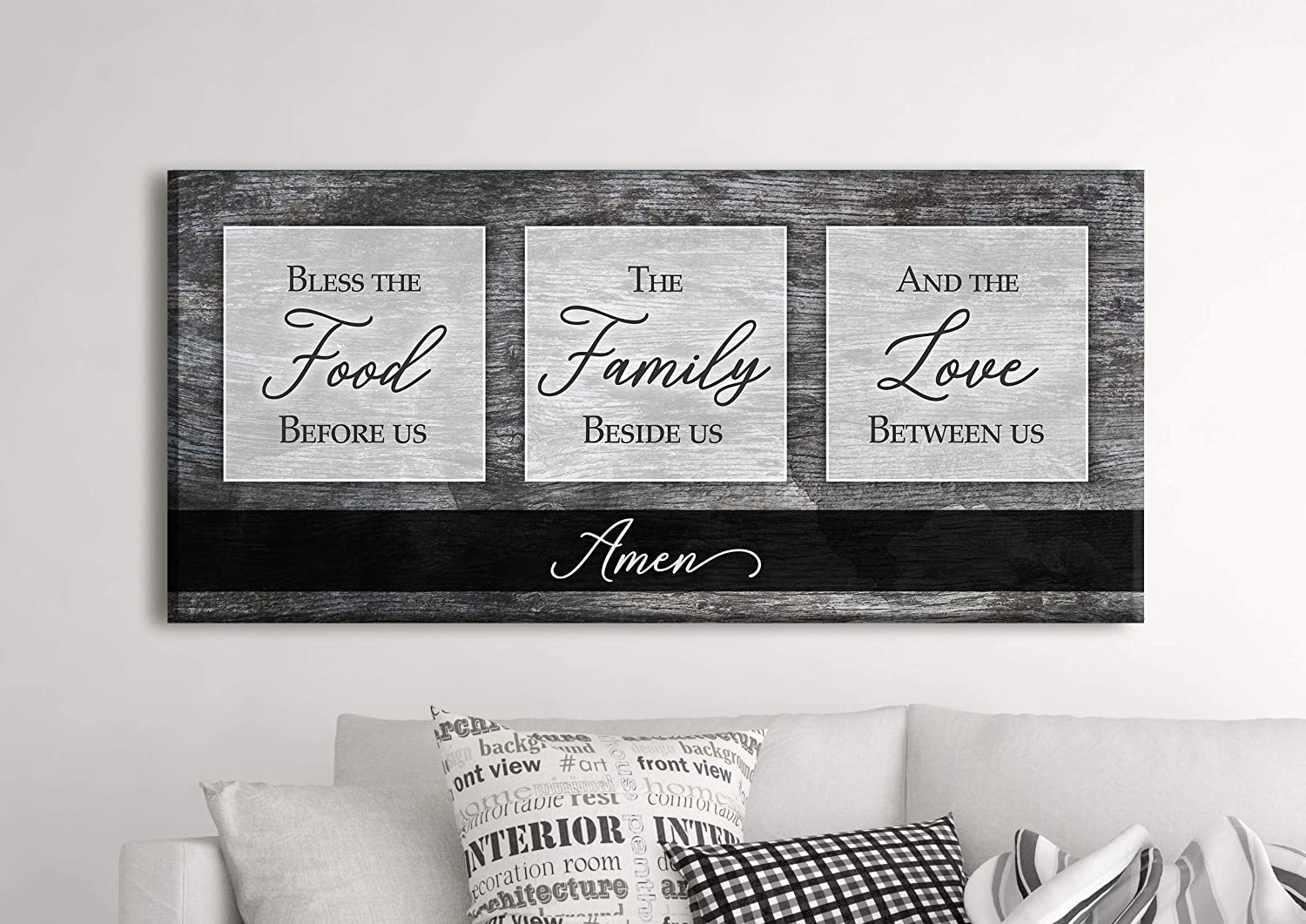 Sense of Art | Bless The Food Before Us The Family Beside Us and The Love Between Us Quote V2 | Wood Framed Canvas | Horizontal Ready to Hang Dining Room Wall Decor (Grey, 42x19)