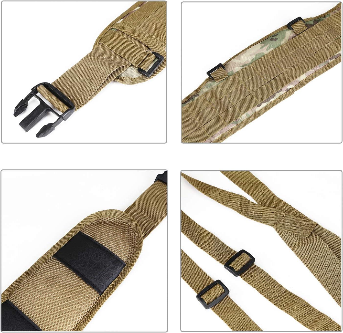 YAHILL/® Molle Cintur/ón T/áctico Ajustable Militar de Seguridad Equipo de Pistolas de Aire S/ísmicas de Combate con Correa Gratis por Deporte al Aire Libre