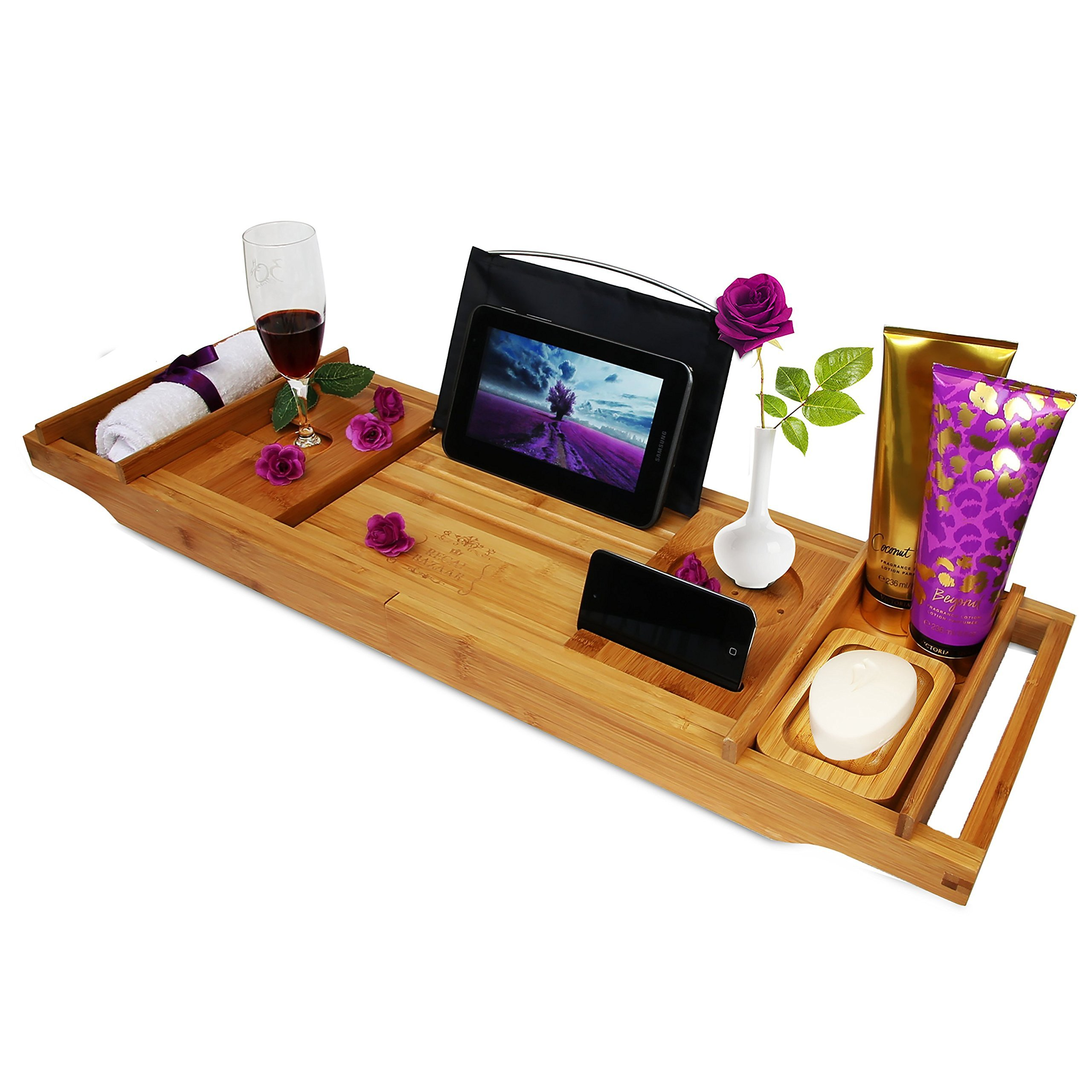 Regal Bazaar Bamboo Bath Tub Caddy Tray - Extending Sides, 2 Removable Spa Trays, Book Holding Stand, Cellphone Slot, Wine Glass and Cup Holders, and Non Slip Base - Free Soap Dish by Regal Bazaar (Image #1)
