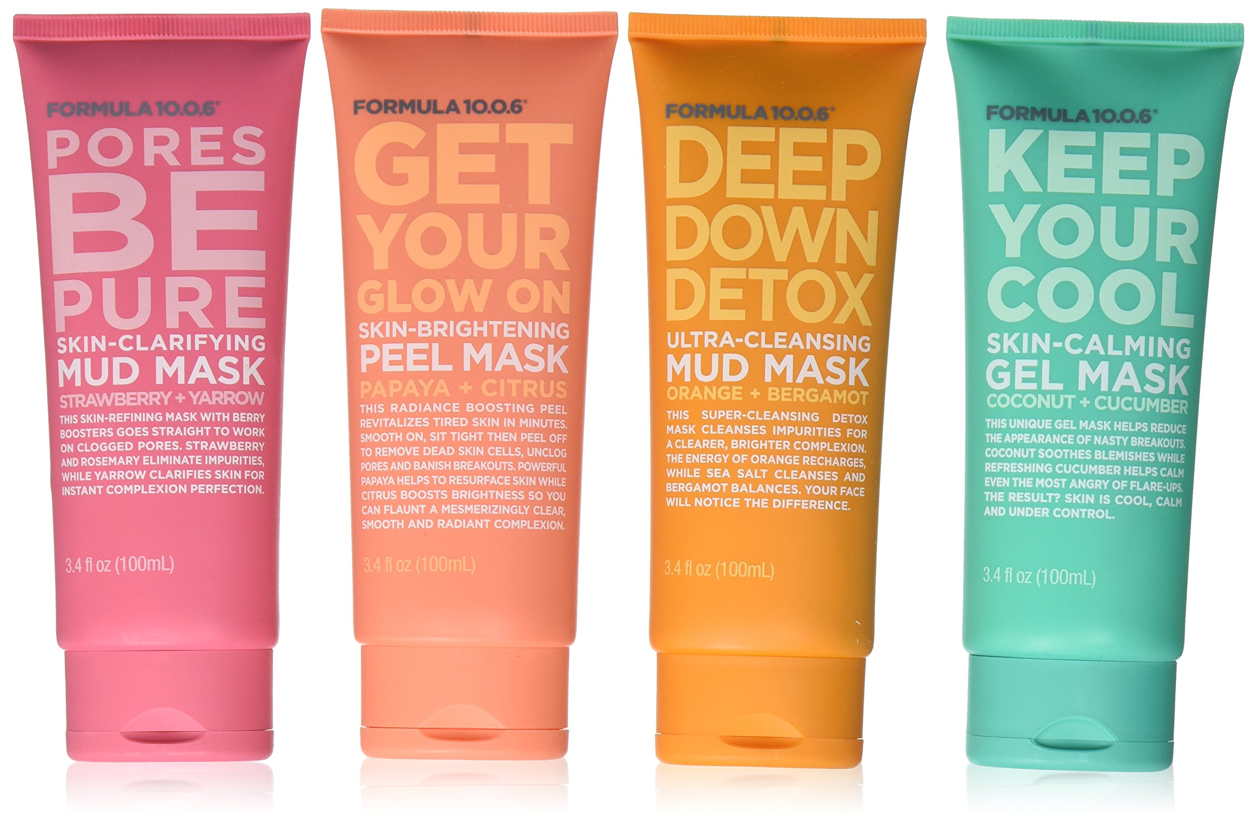 Pores be Pure Skin-Clarifying Facial Mud Mask - 3.4 oz. by Formula 10.0.6 (pack of 12) California Pure Naturals Organic Exfoliating Facial Cleanser, 4.0 Oz