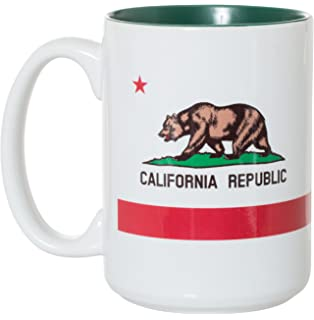 California Republic Bear Flag Iconic Cultural Vintage Art Ceramic Coffee Mug 15oz