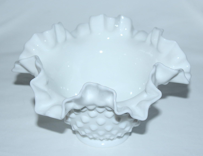 Vintage Fenton Hobnail WHITE Milk Glass Ruffled Edge Bowl 6 1//2 across x 4 Tall
