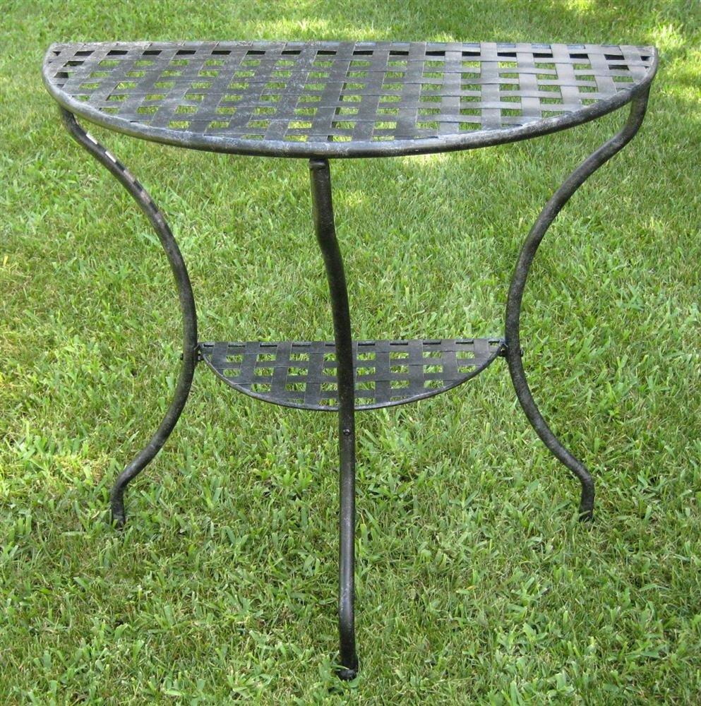 Amazon.com : International Caravan Mandalay Half Moon 2 Tier Table In  Antique Black : Patio Side Tables : Patio, Lawn U0026 Garden
