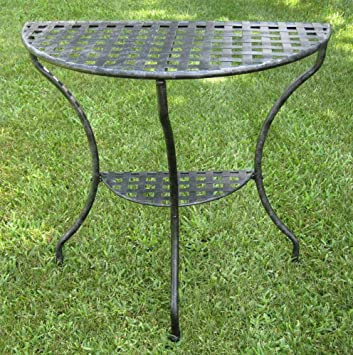International Caravan Mandalay Half Moon 2 Tier Table In Antique Black