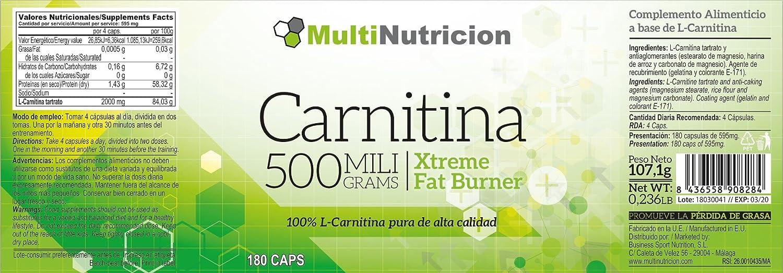 Carnitina 500 L-Carnitina pura de alta calidad 180 Cápsulas.: Amazon.es: Salud y cuidado personal
