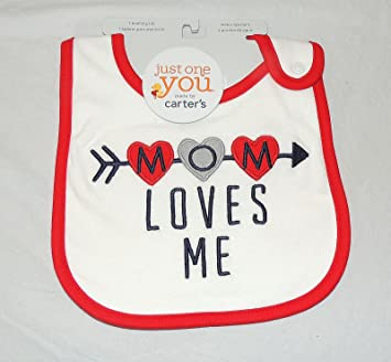 23a461d64 Image Unavailable. Image not available for. Color: NEW Carters Unisex Baby  Mom Loves Me Bib, Valentines, Mother's Day