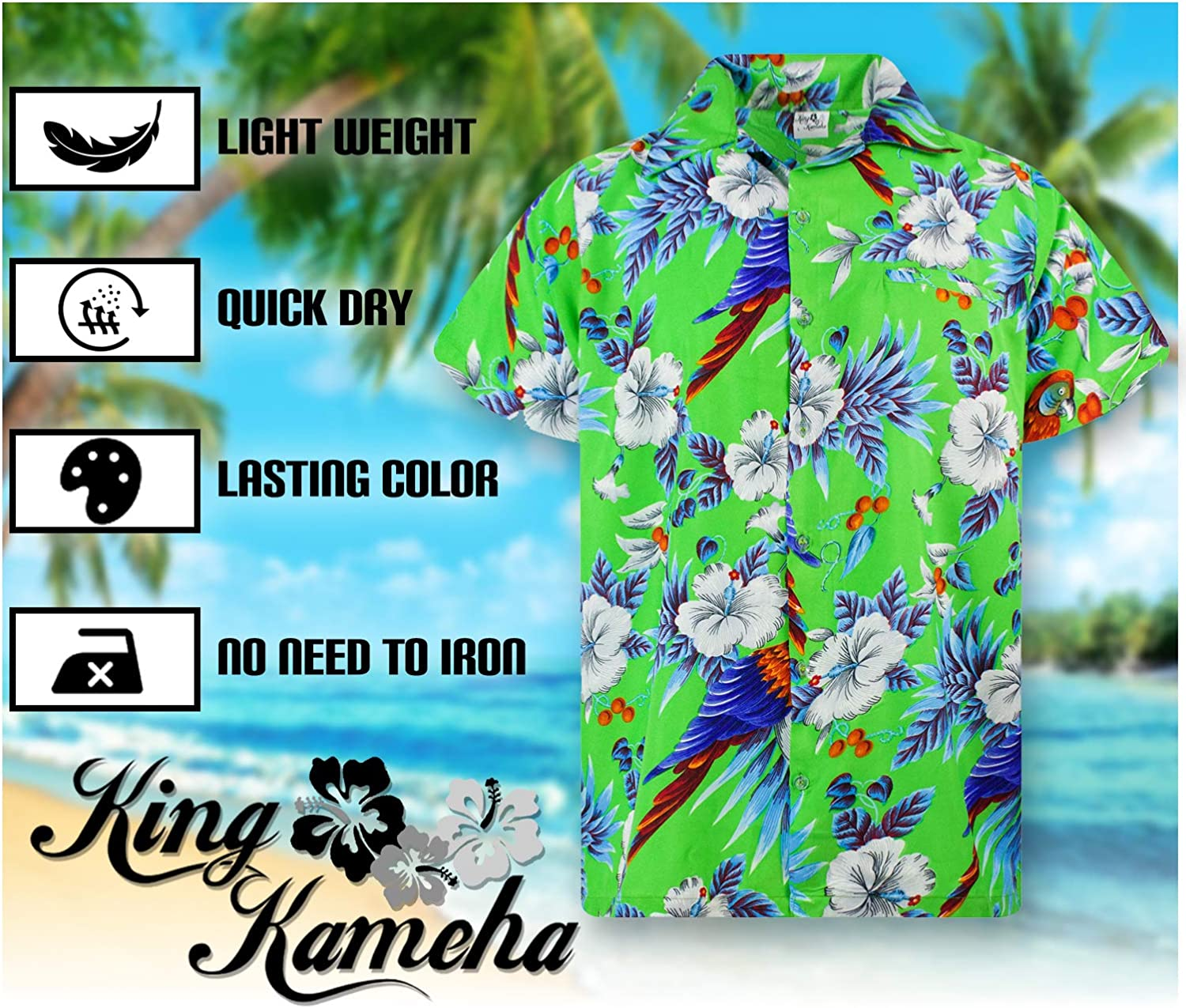 King Kameha Chemise Hawa/ïenne pour Homme Funky Casual Button Down Very Loud Courtes Unisex Cherryparrot
