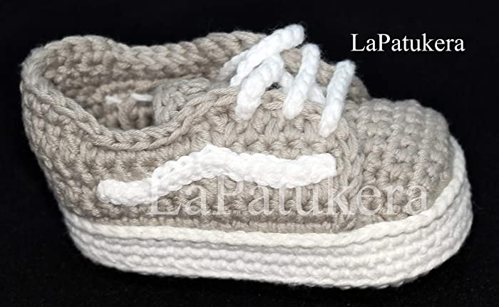 be4546962b9951 Image Unavailable. Image not available for. Colour  Baby booties. Crochet  Unisex Vans style. 100% cotton. Sizes from 0 to