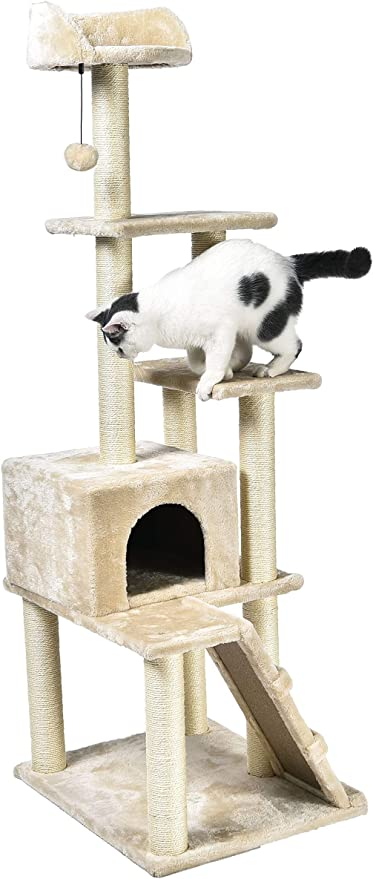 AmazonBasics - Árbol con varias torres para gatos, grande, 61x154,9x48,3 cm, beige: Amazon.es: Productos para mascotas