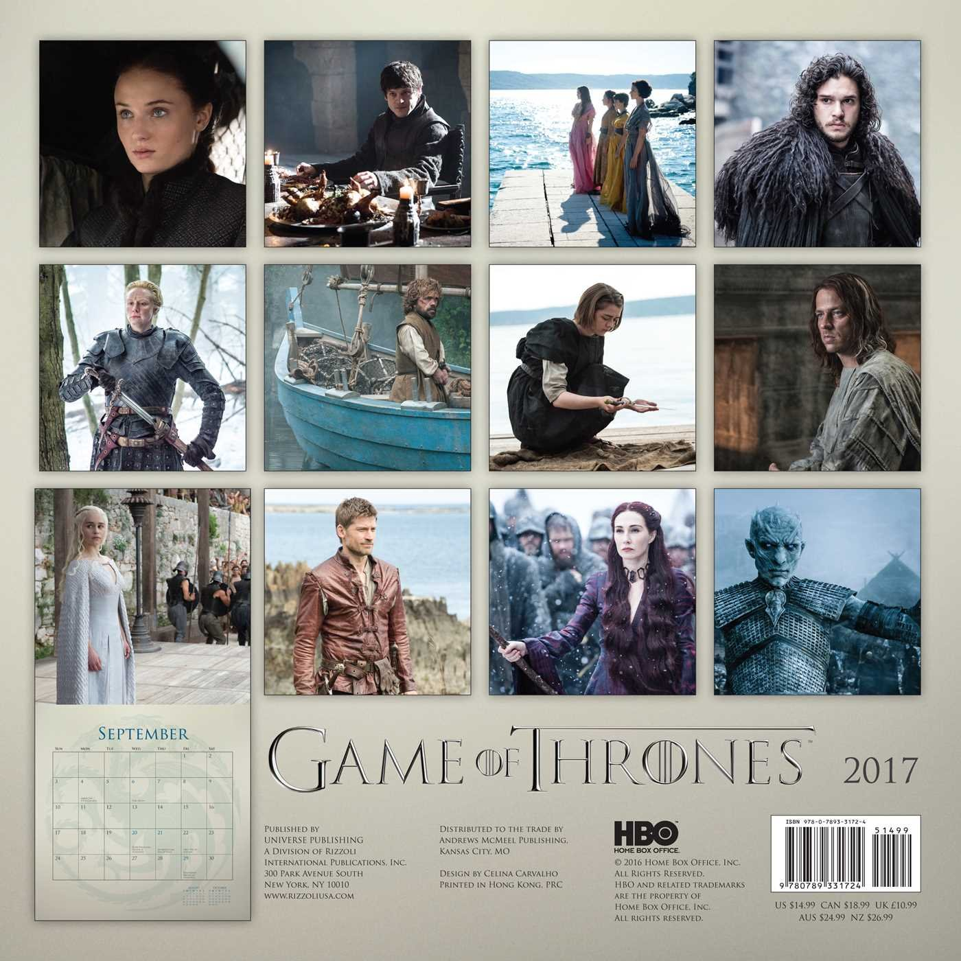 Game Of Thrones 2017 Calendar Amazonde Universe Publishing