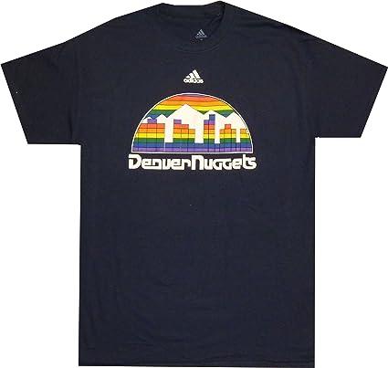Amazon.com : Denver Nuggets Adidas Throwback Navy Logo T Shirt ...