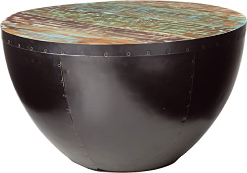 Coaster Home Furnishings Coffee Table with Drum Base Natural Reclaimed Wood and Black Iron
