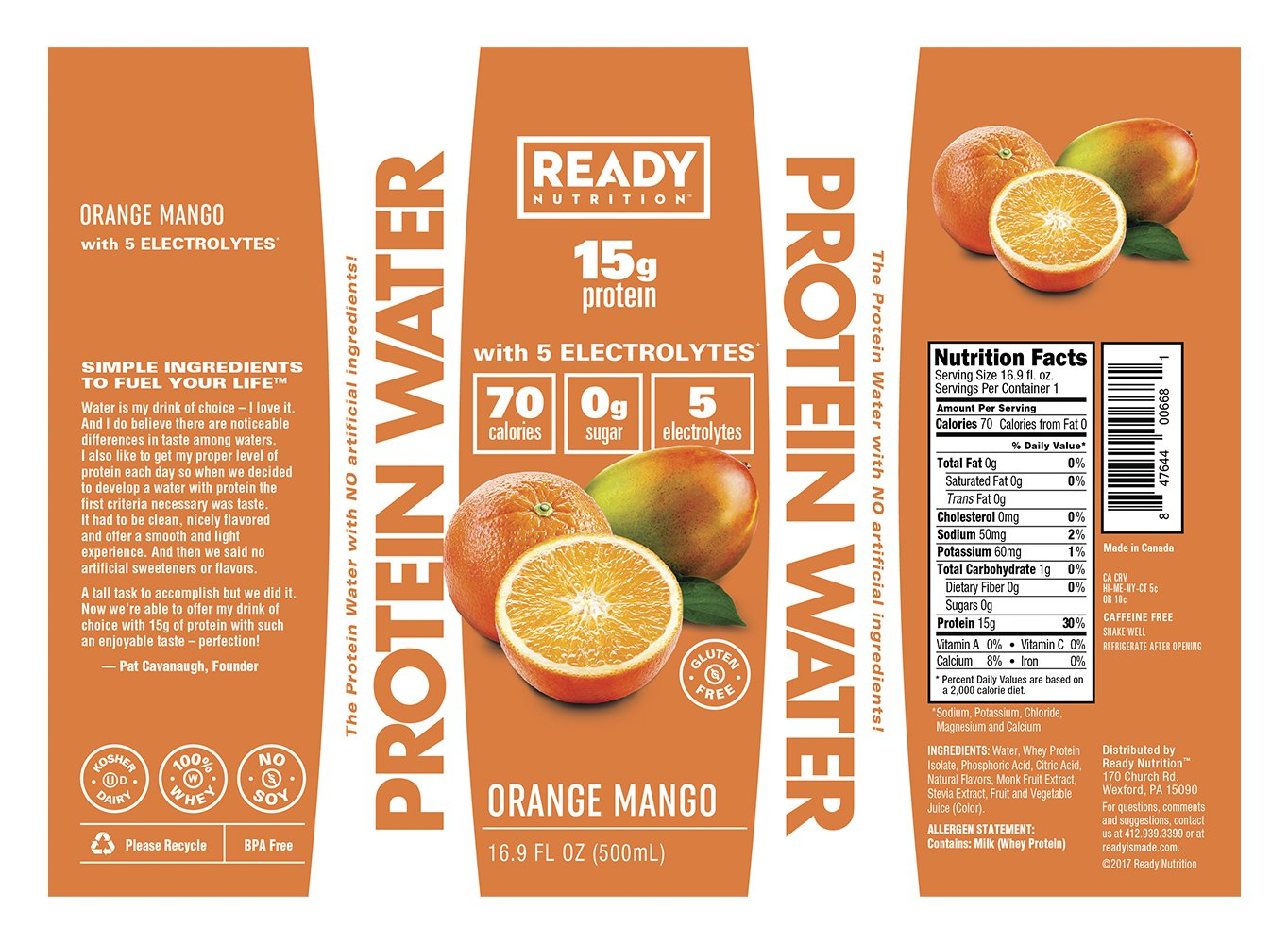 amazon com ready nutrition protein infused water 15g whey protein