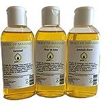 Coffret Modelage Sensuel- Mix de 3 flacons d'Huiles de massage assorties Parfumées Fleur de Lotus, Caramel et Amande Douce, PURESPA By Purenail , Huile végétale - 3 x 100 ml