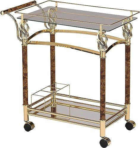 ACME Furniture 98002 Helmut Serving Cart, Golden Plated Clear Glass