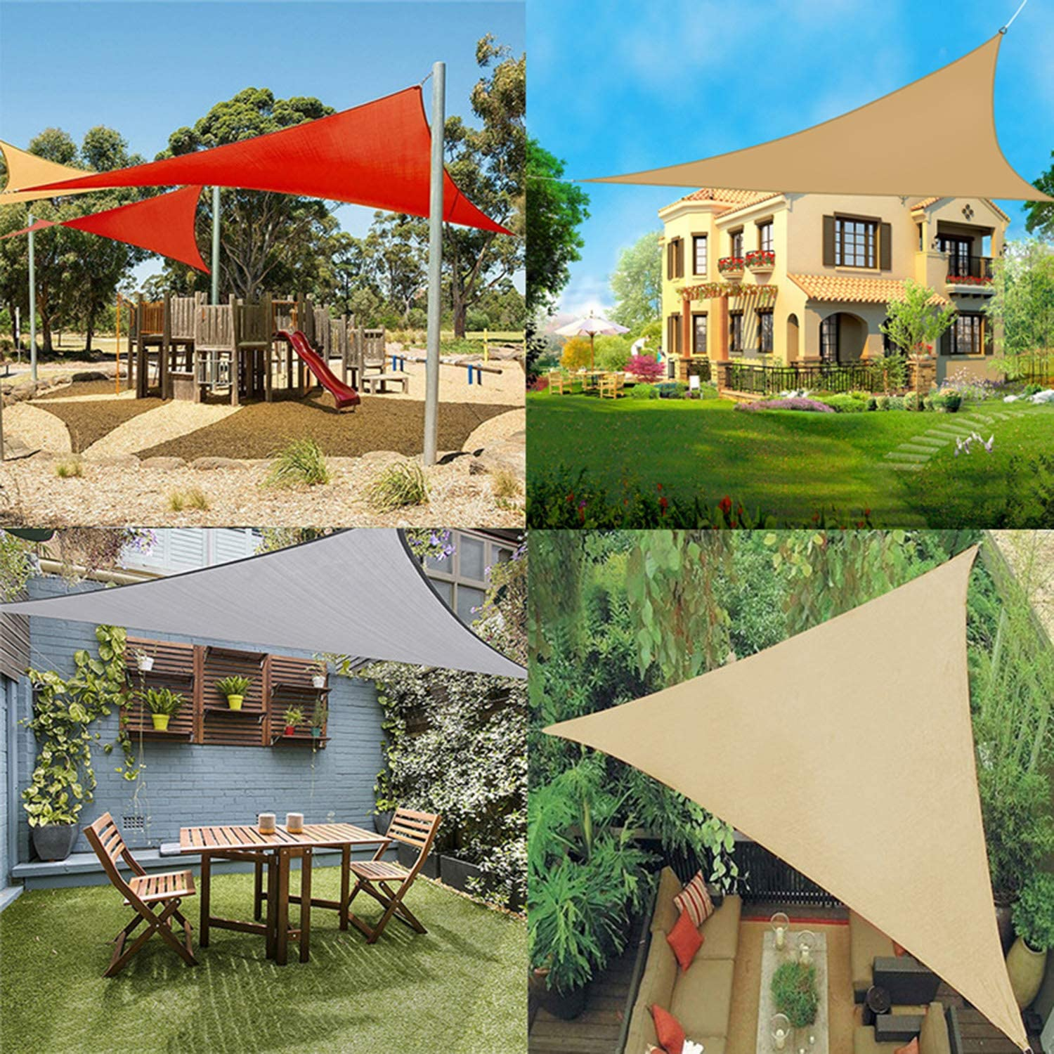 Waterproof Sun Shade Sail Garden Patio Awning Canopy UV Block W// Ropes