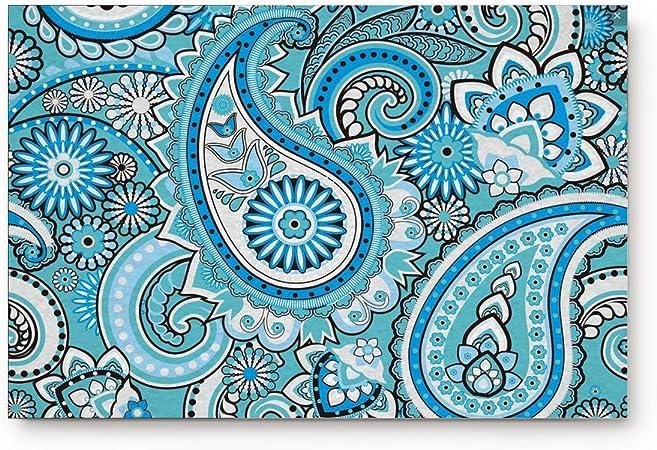 Light Blue 20x32IN EZON-CH Modern Non Slip India Ethnic Paisley Mango Style Hello Home Bathroom Bath Shower Bedroom Mat Toilet Floor Door Mat Rug Carpet Pad Doormat