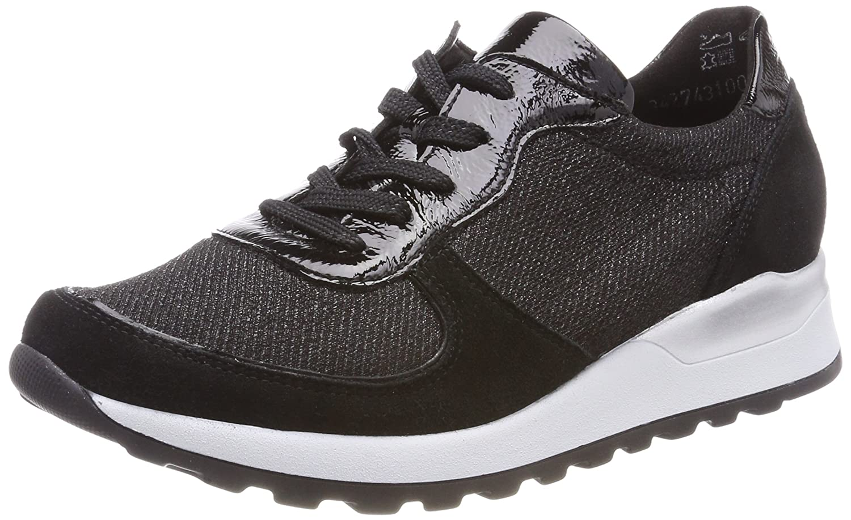 Waldläufer Hiroko-Soft, Zapatos de Cordones Oxford para Mujer 39 EU|Negro (Velour Taipei Flash Taip. Schwarz 001)