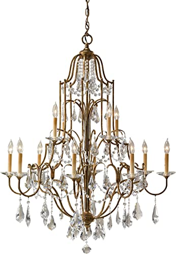 Feiss F2479 8 4OBZ Valentina Crystal Candle Chandelier, 12-Light 720 Watts 37 Dia x 46 H , Bronze