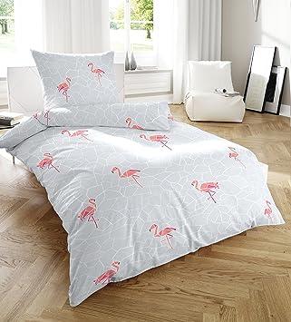 PRIMERA Soft Seersucker Bettwäsche Grau Mit Flamingos 135x200 + 80x80 Cm