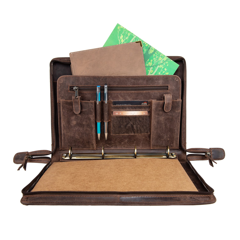 Woodpecker Men/Women Handmade Office Folder Multipurpose Buffalo Leather Padfolio/Resume Portfolio Folder - Interview/Legal Document Organizer & Business Card Holder Brown